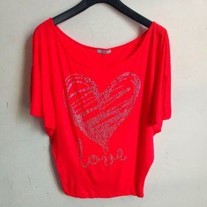Red Studded Top Blouse Shirt Sz M